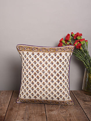 Purple & Beige Handblock Printed Cotton Cushion Cover (16in x 16in)