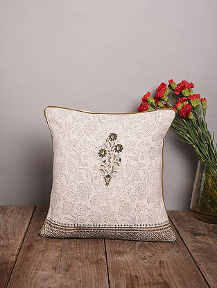 Grey and Mustard Handblock Printed Cotton Cushion Cover (16in x 16in)
