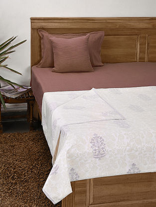 Purple Handblock Printed Cotton Single Dohar (90in x 56in)