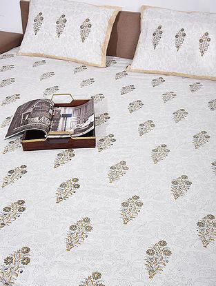 White Grey Handblock Printed Double Bedsheet ( Set of 3)