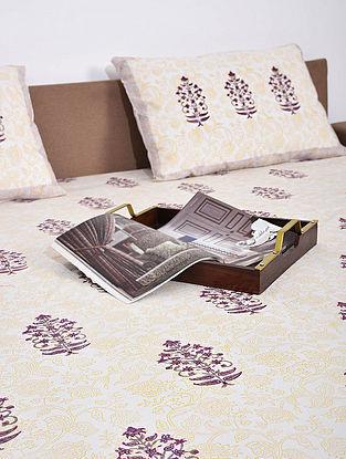 Purple Mustard Handblock printed double bedsheet ( Set of 3)