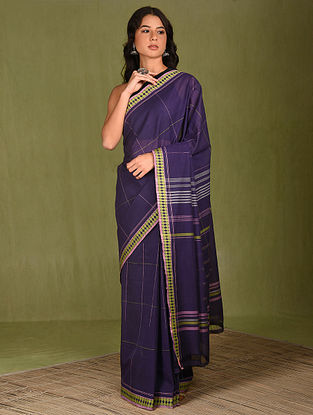 Blue Cotton Handwoven Saree