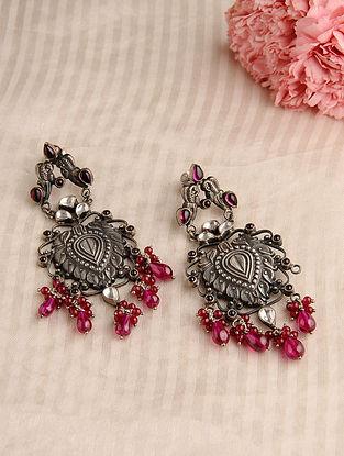 Pink Kundan-inspired Silver Earrings