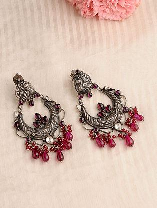 Pink Kundan-inspired Silver Earrings with Peacock Motif