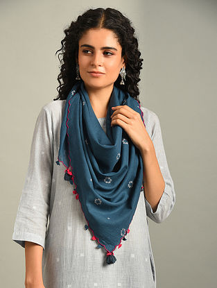 Blue Handloom Cotton Jamdani Scarf