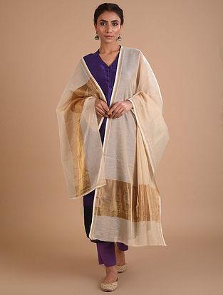Ivory Cotton Silk Dupatta with Zari