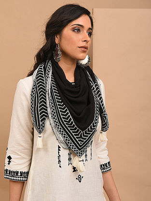 Black Cotton Embroidered Scarf with Beads and Tassels