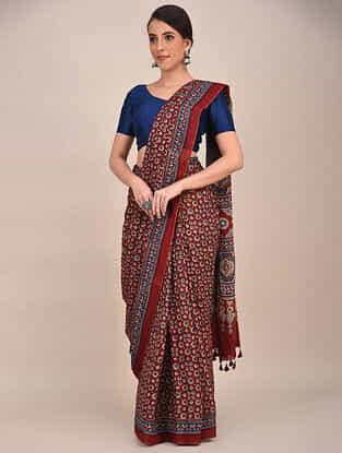 Red-Blue Ajrakh Printed Mul Cotton Saree
