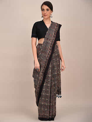 Grey-Black Ajrakh Printed Mul Cotton Saree