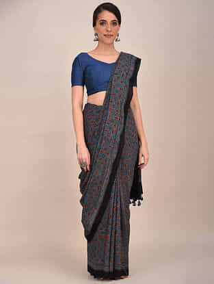 Blue-Black Ajrakh Printed Mul Cotton Saree