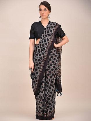 Black-Grey Ajrakh Printed Mul Cotton Saree
