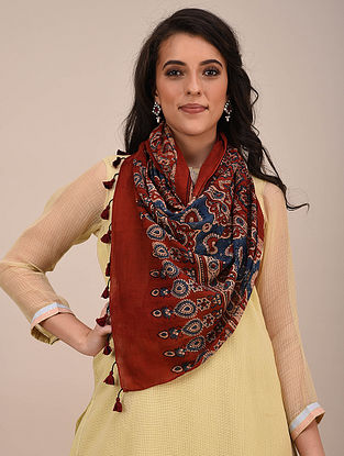 Red-Blue Ajrakh Printed Mul Cotton Stole