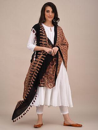 Beige-Black Ajrakh Printed Mul Cotton Dupatta