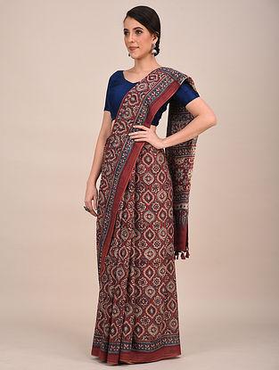 Maroon-Blue Ajrakh Printed Mul Cotton Saree