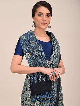 Blue-Grey Ajrakh Printed Mul Cotton Saree