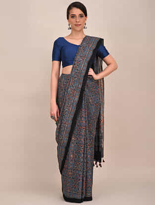 Blue-Red Ajrakh Printed Mul Cotton Saree