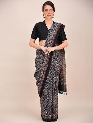 Blue-Maroon Ajrakh Printed Mul Cotton Saree