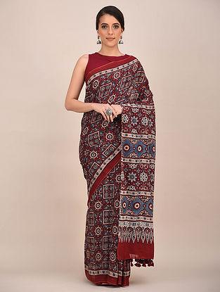 Rust-Blue Ajrakh Printed Mul Cotton Saree