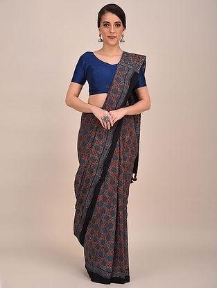 Blue-Rust Ajrakh Printed Mul Cotton Saree