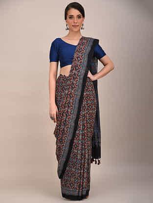 Brown-Blue Ajrakh Printed Mul Cotton Saree