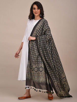 Black-Blue Ajrakh Printed Mul Cotton Dupatta