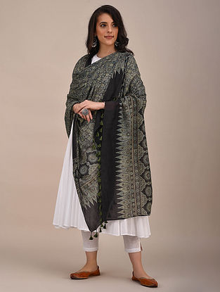 Black-Grey Ajrakh Printed Mul Cotton Dupatta