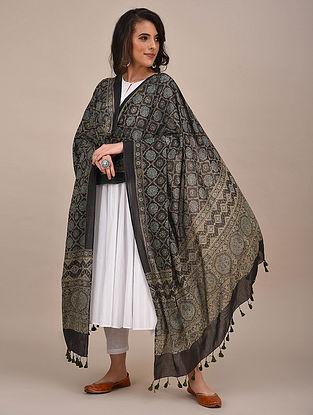 Black Ajrakh Printed Mul Cotton Dupatta