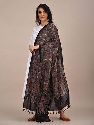 Black-Rust Ajrakh Printed Mul Cotton Dupatta