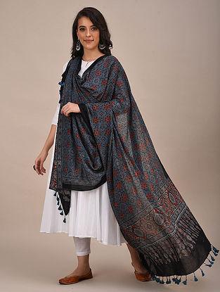 Blue-Black Ajrakh Printed Mul Cotton Dupatta