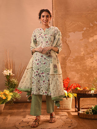 CANANORE - Ivory-Green Printed Cotton Kurta