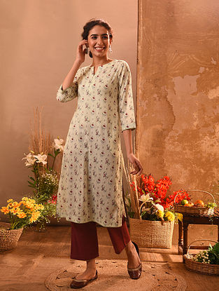 CONINGA - Ivory-Green Printed Cotton Kurta