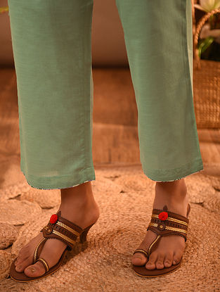 Green Elasticated Waist Cotton Pants