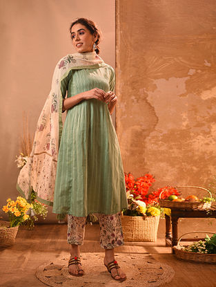 GANJAM - Green Cotton Kurta with Pintucks