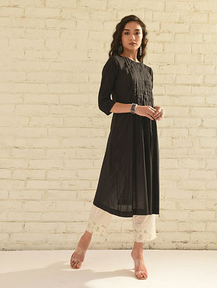 AJAANI - Black Cotton Dobby Dress with Pleats