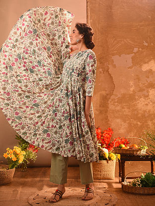 SWALLY - Ivory-Green Printed Cotton Kalidar Kurta