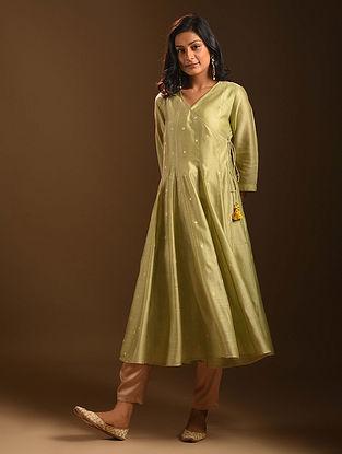 PIHARAVAA - Green Silk Cotton Angrakha Kurta with Zari