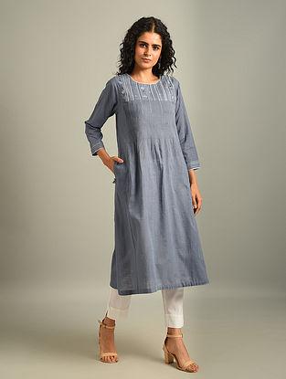 ANESIA - Blue Embroidered Cotton Kurta with Pintucks