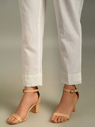 White Elasticated Waist Cotton Flax Pant with Pocket