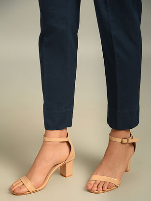 Blue Elasticated Waist Cotton Flax Pant with Pocket