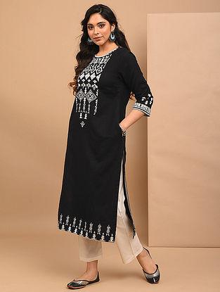 AADVIKA - Black Embroidered Cotton Linen Kurta