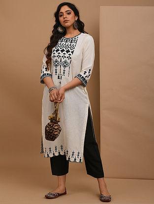 AASHIKA - Ivory Embroidered Cotton Linen Kurta