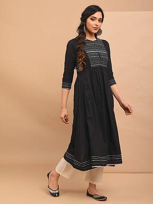 AATIKAH - Black Embroidered Cotton Kurta