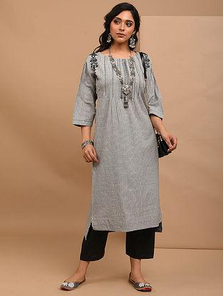 AGANAGAI - Grey Embroidered Mangalgiri Cotton Kurta with Pintucks