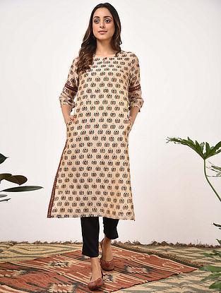 ARUNIMA - Beige Rust Bagru Printed Silk Cotton Kurta with Khari