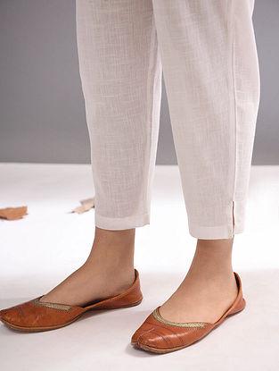 White Elasticated Waist Cotton Slub Pants