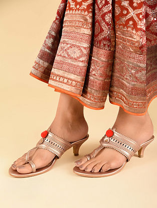 Champange Handcrafted Faux Leather Kolhapuri Kitten Heels