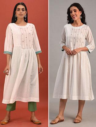 HASANA - White Cotton Dobby Embroidered Kurta Dress with Pleats and Gathers