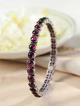 Maroon Temple Silver Bangle (Size: 2/4)