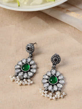 Green Silver Earrings with Pearls