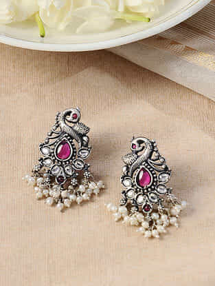 Maroon Silver Earrings with Pearls